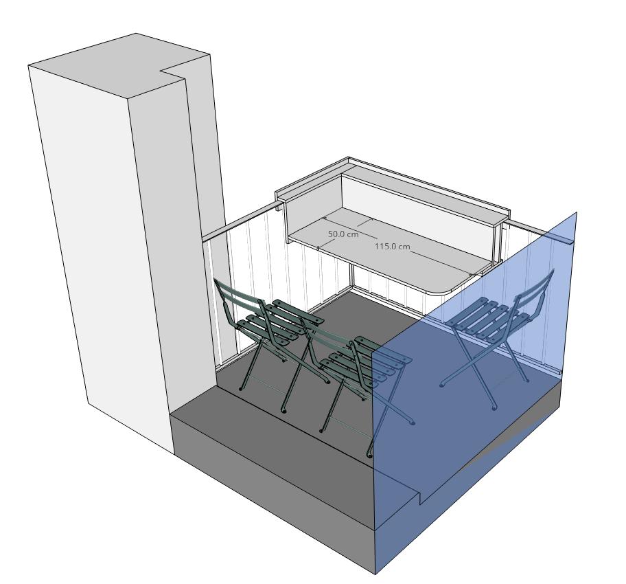 Tablette balcon Modélisation